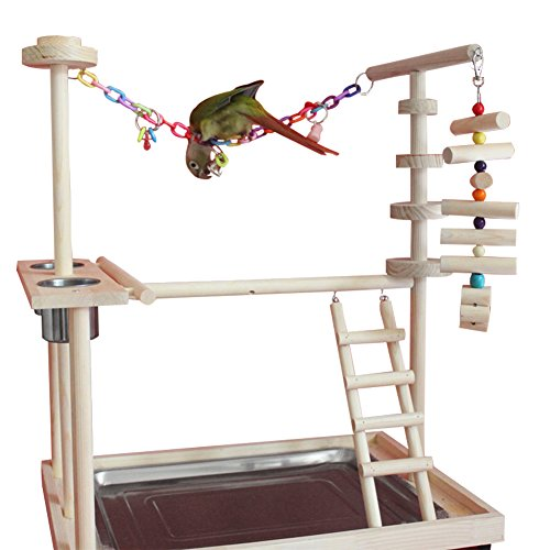 Parrot Playpen (QBLEEV Parrot Wood Stand Perch Bird Playstand Playground Playgym Playpen Ladder with Toys Exercise Play (Include a Tray)(19