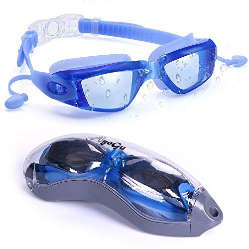 AYOGU Swim Goggles,Professional Anti Fog No Leaking UV Protection Swimming Goggles with Ear Plugs & Protection Case,Wide View Swim Goggles for Kids/Men/Women/Adults