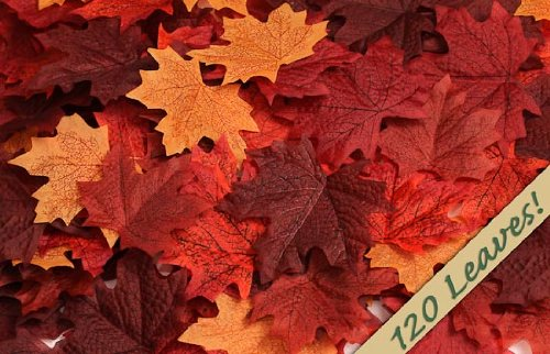 120 Artificial Fall Maple Leaves in a Mixture of Autumn Colors - Great Autumn Table Scatters for Fall Weddings & Autumn Parties ()