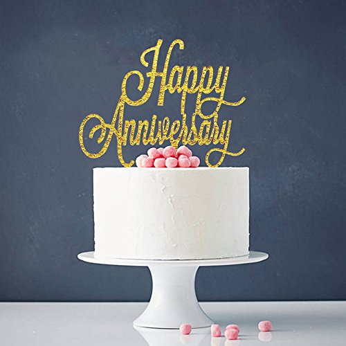 Happy Anniversary Cake Topper - Birthday / Wedding Anniversary Party Decoration Supplies Photo Props (Decorations For Wedding Anniversary Party)