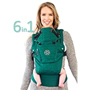 Líllébaby The Complete Embossed Luxe SIX-Position 360° Ergonomic Baby & Child Carrier, Emerald - Baby Carrier, Ergonomic Multi-Position Carrying for Infants Babies Toddlers