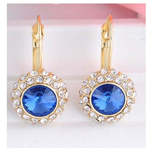 [Luck Wang Lady's Unique Qualities Circular Fashion Crystal Deep Bule Earrings(Gold)] (Six Million Dollar Man Costume)