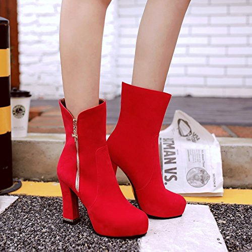 Mee Shoes Damen inner Plateau faux Suede high heels Stiefel Rot