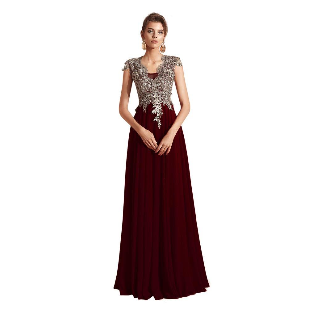 Dark Burgundy Datangep Women's Lace Appliques Floor Length Bridesmaid Dress Beaded Bodice Aline Dresses