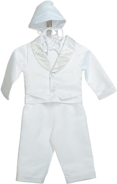 Boys White Vest Pants Suit Set Hat Baby Toddler Christening Baptism Brocade New