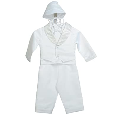c363bb039 Lito Angels Baby Boys' 5 Pcs Baptism Christening Outfit Formal Suit Vast  Cap White Infant