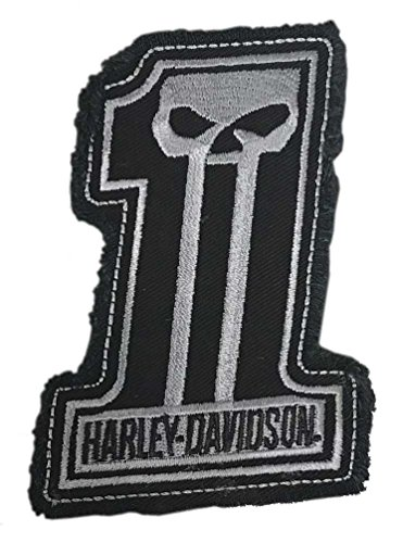 Harley-Davidson Dark Custom #1 Skull Frayed Emblem Patch, 4 x 3 inches - Gray (Harley Davidson One Patch)
