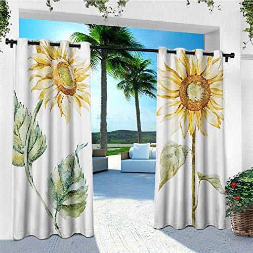 (leinuoyi Watercolor, Outdoor Curtain Waterproof, Alluring Sunflowers Summer Inspired Design Agriculture, Balcony Curtains W72 x L108 Inch Earth Yellow Pale Yellow Fern Green)