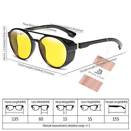 Mujer Vintage libre UV400 Protección Retro para aire Redondas Hombre y sol Estilo Unisex 07 BOZEVON Gafas Al de E8qvwzX
