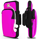 Sports Armband, Venoro Exercise Workout Running Double Pockets Universal Smartphone Waterproof Arm Bag with Earphone Hole for iPhone X 8 7 6S, Samsung Galaxy S9 Plus S9 S8 S7 Edge (Rose)