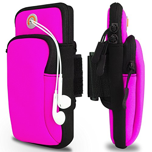 Arm Bag, Venoro Running Phone Armband Double Pockets Universal Smartphone Waterproof Sports Armband with Earphone Hole for iPhone X 8 7 6S, Samsung Galaxy S9 Plus S9 S8 S7 Edge (Rose)