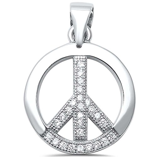 Sterling Silver Round Cubic Zirconia Peace Sign Charm (Cubic Zirconia Peace Necklace)