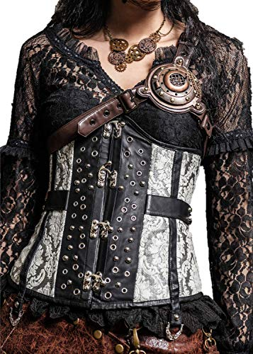 Steampunk Chest Straps Vintage Victorian Harness with Led Light Cosplay Steampunk Accessory (Brown)]()