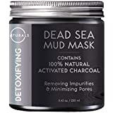 O Naturals Dead Sea Mud Mask with Charcoal - 100% Natural Vegan Detoxifying Face & Body Mask for Deep Cleansing, Treating Acne, Exfoliating Skin, Reducing Wrinkles, Purifying & Pore Minimizing 8.45 oz.