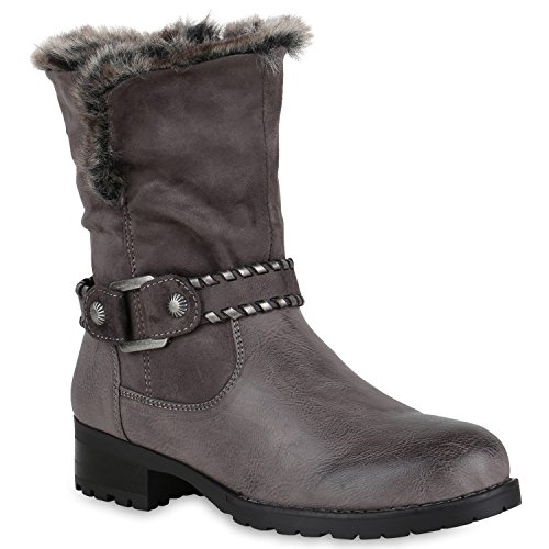 Stiefelparadies Damen Stiefeletten Cowboy Boots Profilsohle Gefütterte Stiefel Flandell Grau Berkley