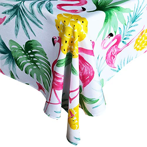 Newbridge Kitschy Boca Flamingo Indoor/Outdoor Fabric Tablecloth - Tropical Pineapple and Palms Soil Resistant, Water Repellent Fabric Tablecloth, 52 Inch X 52 Inch Square ()
