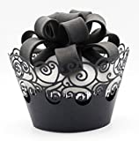 easy bake cupcake wrappers - KEIVA Cupcake Wrappers 60 Filigree Artistic Bake Cake Paper Cups Little Vine Lace Laser Cut Liner Baking Cup Muffin Case Trays for Wedding Party Birthday Decoration (Black)