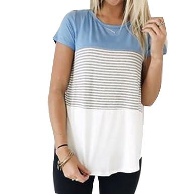 f9a61770c7884 Yying Estiva Camicetta per Donna - Elegante Maniche Corte Collo Rotondo  Casual Tunica Sciolta Moda T-Shirts a Righe Camicie Tops Taglie Forti   Amazon.it  ...