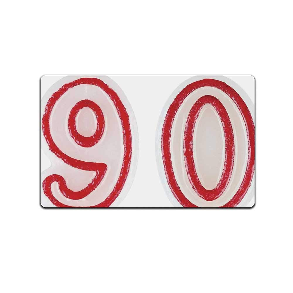 YOLIYANA 90th Birthday Decorations Doormat,Burning Birthday Candles in Red and White Desert Pastry for Kitchen,31'' Lx19 W