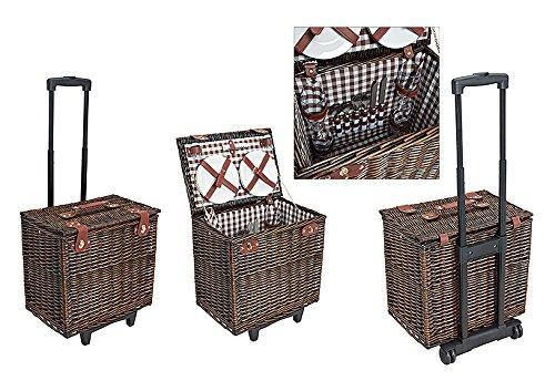 Picknickkorb Trollery,braun-weiß, gestreift | Picknick Set für 4 Personen | 28 Teile