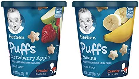 Gerber Puffs Cereal Snack Cup, Strawberry Apple/Banana Variety Pack, 16 Count