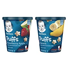 Nourish your little one on-the-go with whole grain goodness by serving Gerber Puffs Banana-flavored Cereal Snack. Gerber Puffs Cereal Snacks have 2 grams of whole grains per serving and 5 vitamins and minerals, making them an ideal snack for ...