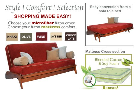 THE FUTON SHOP DILLON CHERRY FULL WINE WALL HUGGER SOFA BED / LOVE SEAT SETS