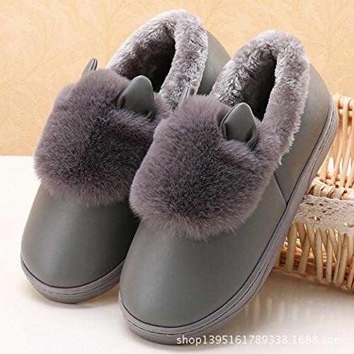 Icegrey Herren Warme Hausschuhe Plüsch Kunstpelz 3D Kuh Soft Sole Wärmehausschuhe für Paare Grau 42-43