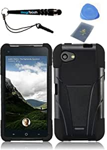 IMAGITOUCH(TM) 4-Item Combo HTC First T-Stand Cover - Black+Black (Stylus pen, ESD Shield bag, Pry Tool, Phone Cover)