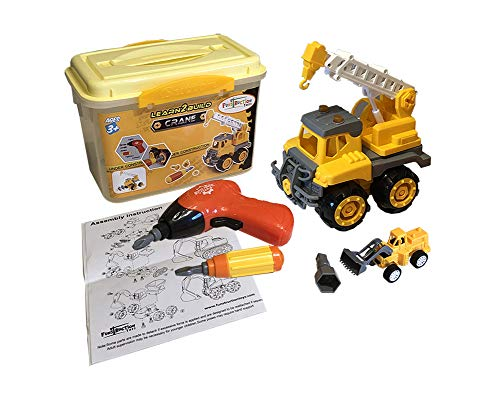 Funstruction Toys - Crane STEM Construction Toy with Bonus Pull Back & GO Toy for Boys or Girls - Especially 3 4 5 or 6 Year Olds - Includes Sturdy Carrying, Drill, Storage Case