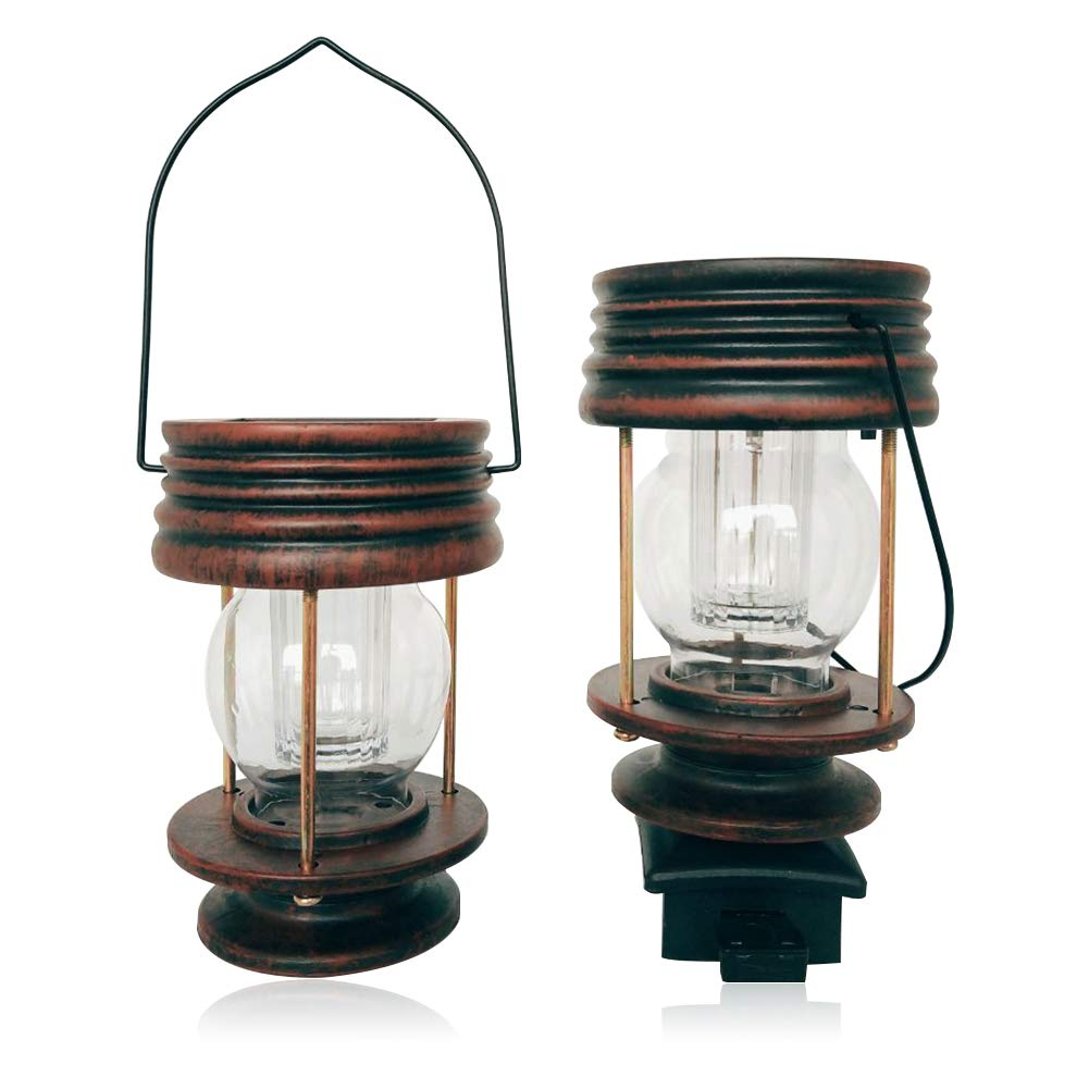 BABALI 2 Pack Solar Lantern Lights Solar Mission Lantern Retro Hanging Solar Lights with Handle Vintage Solar Powered Waterproof Outdoor Hanging Lanterns Decorative Lights for Garden