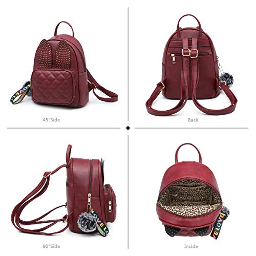 Girls Leather For Bag Backpack Mini Purse Backpack Women Cute Xb Rabbit Wine Shoulder Ear Small Fashion qvwrB6vIn