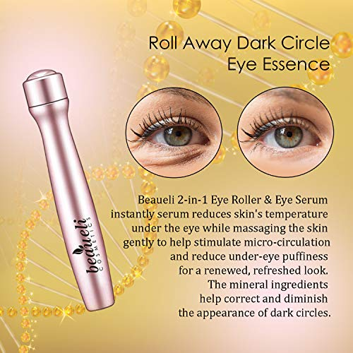 51FVIMlGjwL - Beaueli 2-in-1 Eye Serum & Eye Roller for Dark Circles and Puffiness Anti Aging Puffy Eyes Massager Eye Bags Treatment Eye Stick