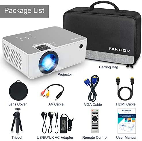 "1080P HD Projector, WiFi Projector Bluetooth Projector, FANGOR 6500 Lumen 230"" Portable Movie Projector, Compatible with TV Stick, HDMI, VGA, USB, Laptop, iOS Android for PowerPoint Presentation"