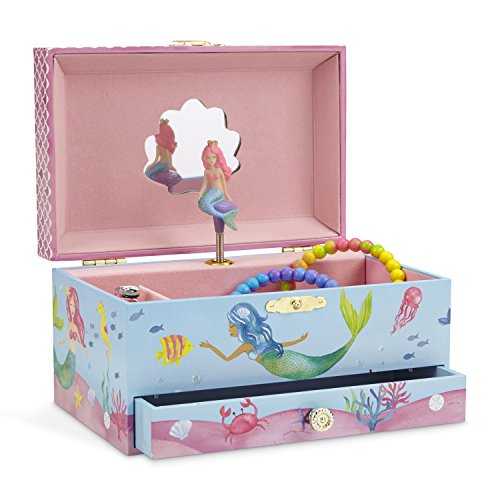 (JewelKeeper Mermaid Musical Jewelry Box, Underwater Design with Pullout Drawer, Over the Waves Tune)