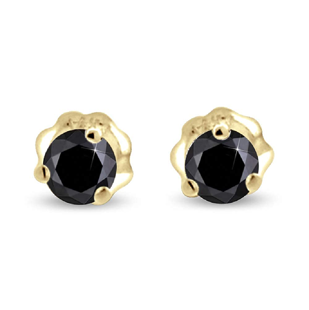 14K Gold Black Diamond Stud Earrings Round Cut Three Prong Setting AAA
