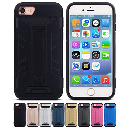 Price comparison product image iPhone 7 Case,  HLCT Rugged Shock Proof Beautiful Design Dual-Layer Case with Built-In Kickstand for iPhone 7 4.7 Inch (Black)