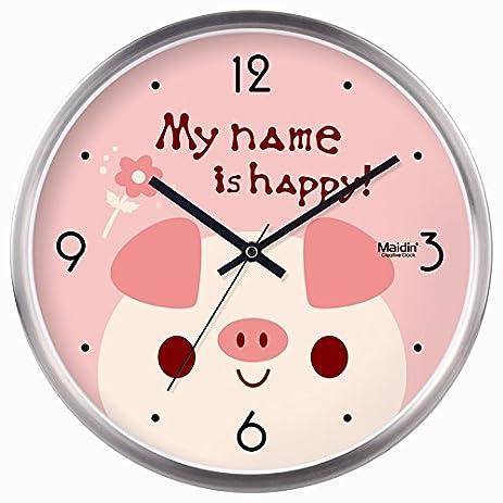 Amazon.com: Mute cartoon pig clocks wall clock living room bedroom ...