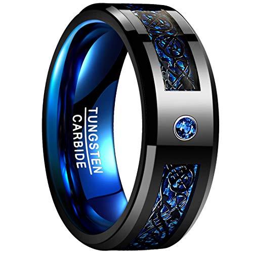 NUNCAD Men's 8mm Blue Carbon Fiber Silver Celtic Dragon Tungsten Carbide Ring Wedding Band Size 11.5