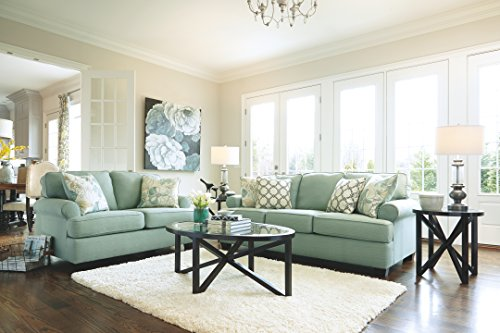 Ashley Furniture Signature Design – Daystar Sofa with 4 Accent Pillows – Contemporary – Seafoam