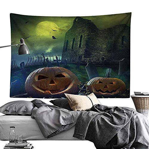 Smooth and Smooth Tapestry Halloween Decorations Pumpkin in Spooky Graveyard in Old Stone Haunted House in Dark Night Wall Hanging W60 x L40 Grey Yellow (100 Most Haunted Places In The World)