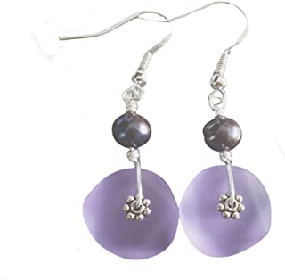 "product image for Handmade in Hawaii,""Magical Color Changing"" purple sea glass earrings, freshwater purple pearl,""February Birthstone"", (Hawaii Gift Wrapped"