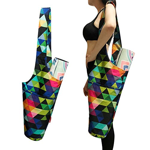 Aozora Yoga Mat Bag | Yoga Mat Tote Sling Carrier with Large Side Pocket & Zipper Pocket | Fits Most Size Mats (Triangle)