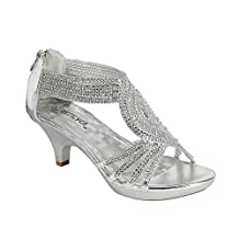 FOREVER FP43 Women's Rhinestone Back Zipper Platform Wrapped Kitten Heel Sandals