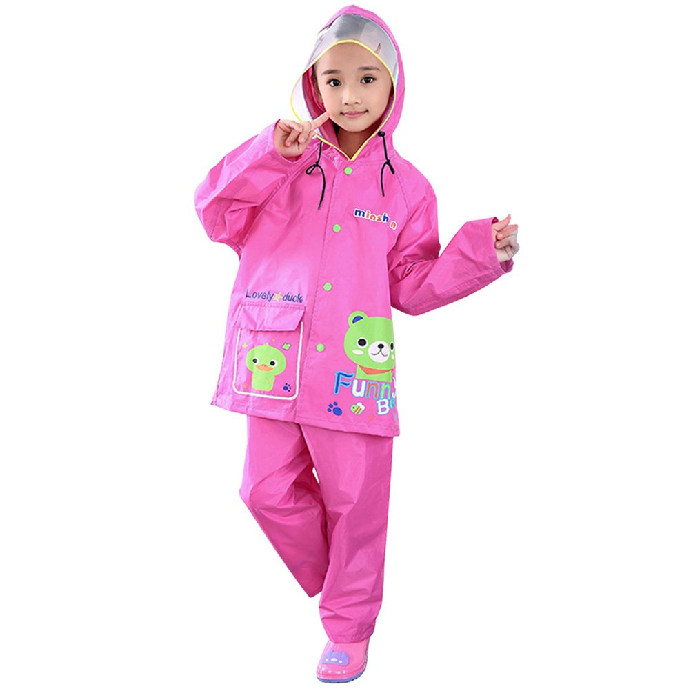 Zhuhaitf Two Pieces Raincoat Suit Rainwear Kids Waterproof Jacket /& Trousers Set