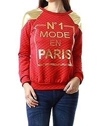 Mode En Paris Printed Quilted-feel Women's Sweatshirt Top (LARGE, RED-C6332SP)