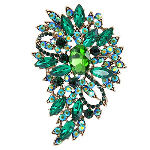 Green Womens Brooch - EVER FAITH Women's Austrian Crystal Wedding Flower Leaf Bouquet Brooch Green Emerald Color Gold-Tone