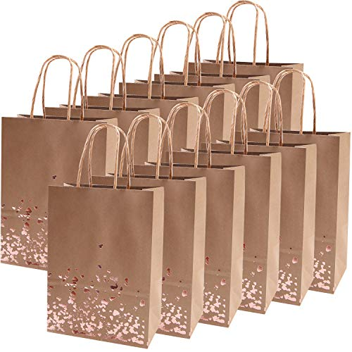 - Cooraby 18 Pieces Rose Gold Bronzing Paper Bags Hen Party Kraft Bag Wedding Celebrations Bags Bride Gift Birthday Bag with Handle for Party Favour
