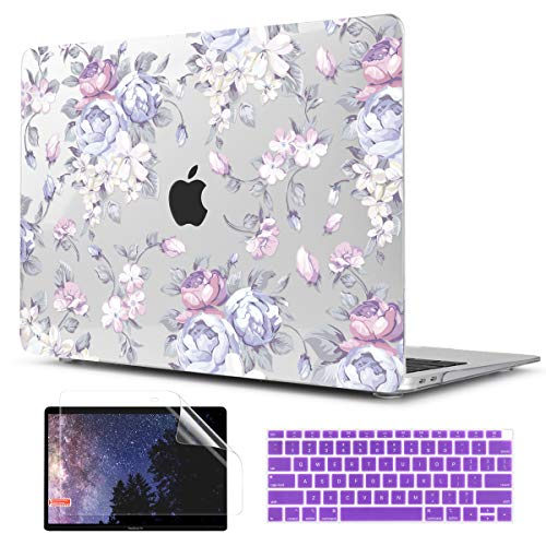 TwoL Transparent Hard Plastic Case Silicone Keyboard Cover Screen Protecor Compatible with 2018-2020 MacBook Air 13 inch A1932 A2179 Purple Peony