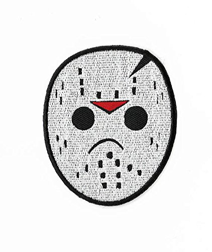 [Jason Voorhees Hockey Mask Embroidered Iron / Sew on Patch Horror Movie Badge Friday the 13th Horror Costume Applique] (Classic Jason Costume)